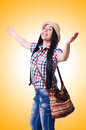 Young woman ready for summer vacation on white Royalty Free Stock Photos