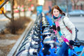Young woman ready to rent a bike in new york beautiful city usa Stock Photos
