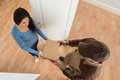 Young woman receiving courier from delivery man happy at home Royalty Free Stock Photos