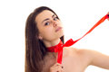 Young woman with red bowtie Royalty Free Stock Photo