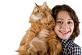 Young woman with red fluffy cat on a white background Royalty Free Stock Photography