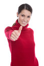 Young woman in red pullover isolated on white have fun teenager girl a woolen and thumbs up Royalty Free Stock Photos