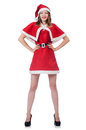 Young woman in red santa costume on white Royalty Free Stock Photo