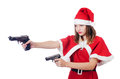 Young woman in red santa costume on white Stock Photography