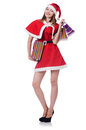Young woman in red santa costume on white Stock Images