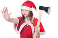 Young woman in red santa costume on white Stock Image