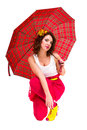 Young woman with a red umbrella Royalty Free Stock Photo