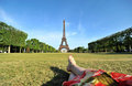 Young woman relaxing in Paris Royalty Free Stock Photo