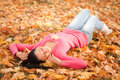 Young woman rest in the autumn park Stock Photography