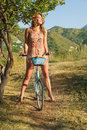 Young woman with retro bicycle Royalty Free Stock Photo
