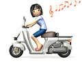 Young woman riding a scooter computer generated image side view Royalty Free Stock Photography