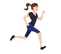 Young woman running vector illustration of jogging Stock Image