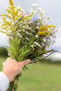 A young woman`s hand holding a bouquet of colorful field flowers Royalty Free Stock Photo
