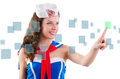 Young woman sailorpressing virtual buttons Royalty Free Stock Images