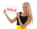 Young woman with sale sign beautiful on a white background Stock Image