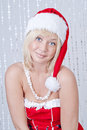 Young woman in Santa Claus clothes Royalty Free Stock Photography