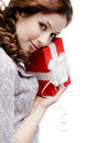Young woman is satisfied with a gift Stock Images