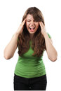 Young woman screaming with hands on head isolated on white background Royalty Free Stock Photography