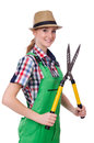 Young woman with shears on white Stock Photo