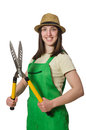 Young woman with shears on white the Stock Image