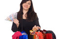Young woman with shopping bags and euro banknotes Stock Photography