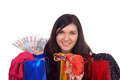 Young woman with shopping bags and euro banknotes Royalty Free Stock Photography