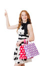 Young woman with shopping bags on white Royalty Free Stock Images