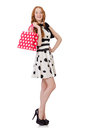 Young woman with shopping bags on white Royalty Free Stock Photos