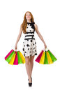 Young woman with shopping bags on white Royalty Free Stock Photo