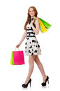 Young woman with shopping bags on white Stock Photography