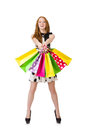 Young woman with shopping bags on white Stock Photos