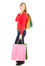 Young woman after shopping, full lenght Royalty Free Stock Photos