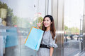 Young woman shopping in mall carrying bags and smiling Stock Images
