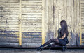 Young woman in short black dress and high heels Royalty Free Stock Photo