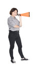 Young woman shouting for announce through a megaphone