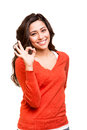 Young woman showing ok sign beautiful Royalty Free Stock Images