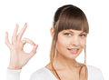 Young woman showing ok sign bright picture of Royalty Free Stock Photos