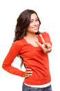 Young woman showing peace or victory sign beautiful Royalty Free Stock Image