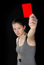 Young woman showing red card Royalty Free Stock Photo