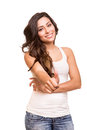 Young woman showing thumbs up beautiful Royalty Free Stock Images