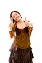 Young woman showing thumbs up sign with both hands adult caucasian isolated on a white background Stock Photo