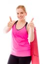 Young woman showing thumbs up towards camera with both hands adult caucasian isolated on a white background Royalty Free Stock Photo