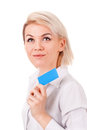 Young woman shows blank plastic card Stock Photos