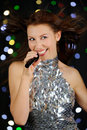 Young woman singing Royalty Free Stock Photo