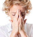 Young woman with sinus pressure pain Royalty Free Stock Photography
