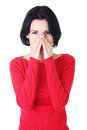 Young woman with sinus pressure pain Stock Photography