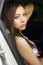 Young woman sitting in the car Royalty Free Stock Photo