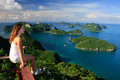 Young woman sitting at the view point, Ang Thong National Marine Royalty Free Stock Images