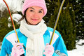 Young woman with ski Royalty Free Stock Photography