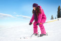 Young woman skiing fast on the slope winter vacation Stock Image